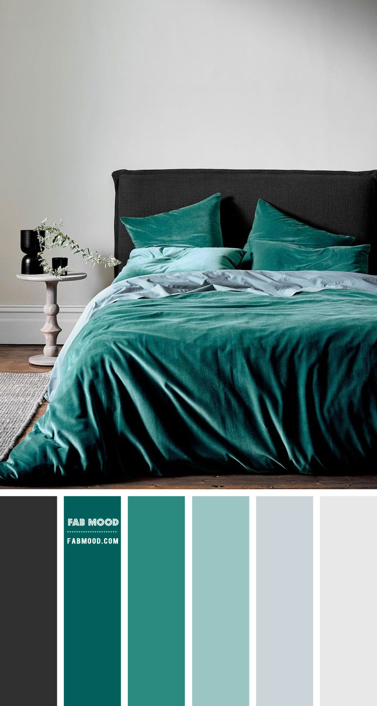 Charcoal and Teal Green Colour Scheme For Powdery Bedroom