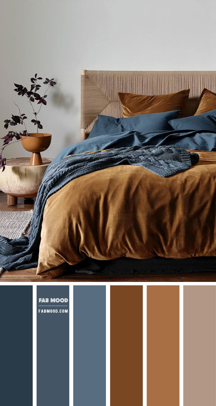 Brown and Dark Blue Bedroom { Dark blue and Tobacco Colour Scheme }
