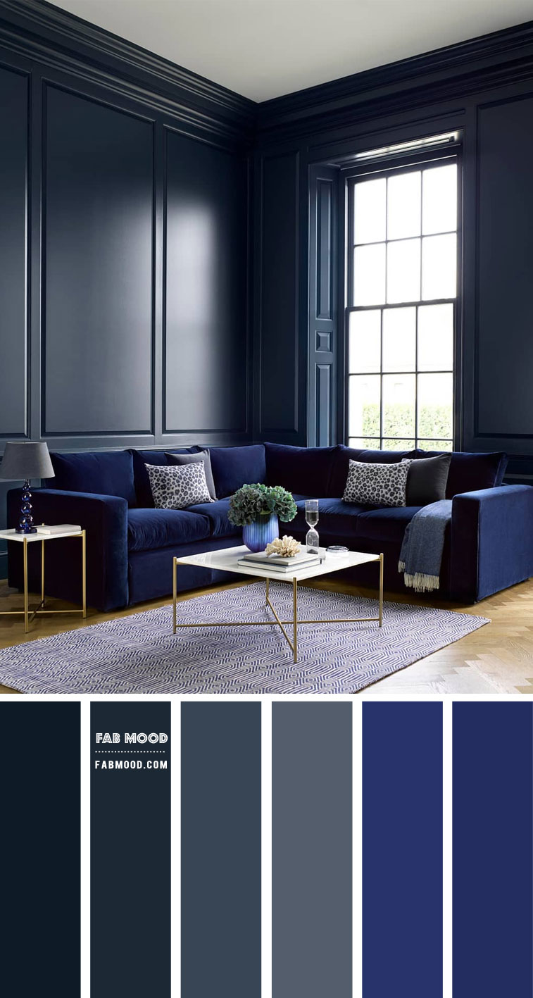 Dark Grey and Prussian Blue Living Room { Moody Living Room }