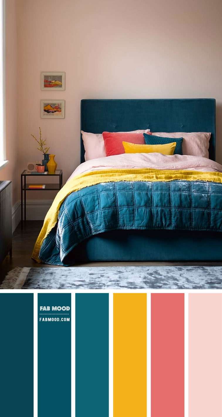 Deep Turquoise and Pink Colour Scheme for Bedroom