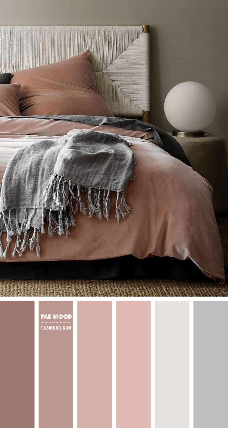 Dusty Rose and Grey Colour Scheme For Bedroom