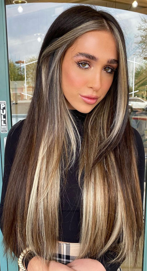chocolate hair with blonde, brown hair with highlights, brown hair , brunette hair, brown hair color ideas, brunette balayage, hair color, fall hair color ideas #fallhaircolor #haircolor #balayage