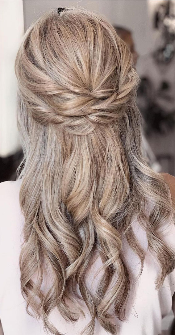 Trendy Half Up Half Down Hairstyles : Braided Half Up For Boho Look