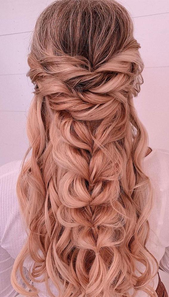 Trendy Half Up Half Down Hairstyles : Braid & Half Up with Tiny Flower