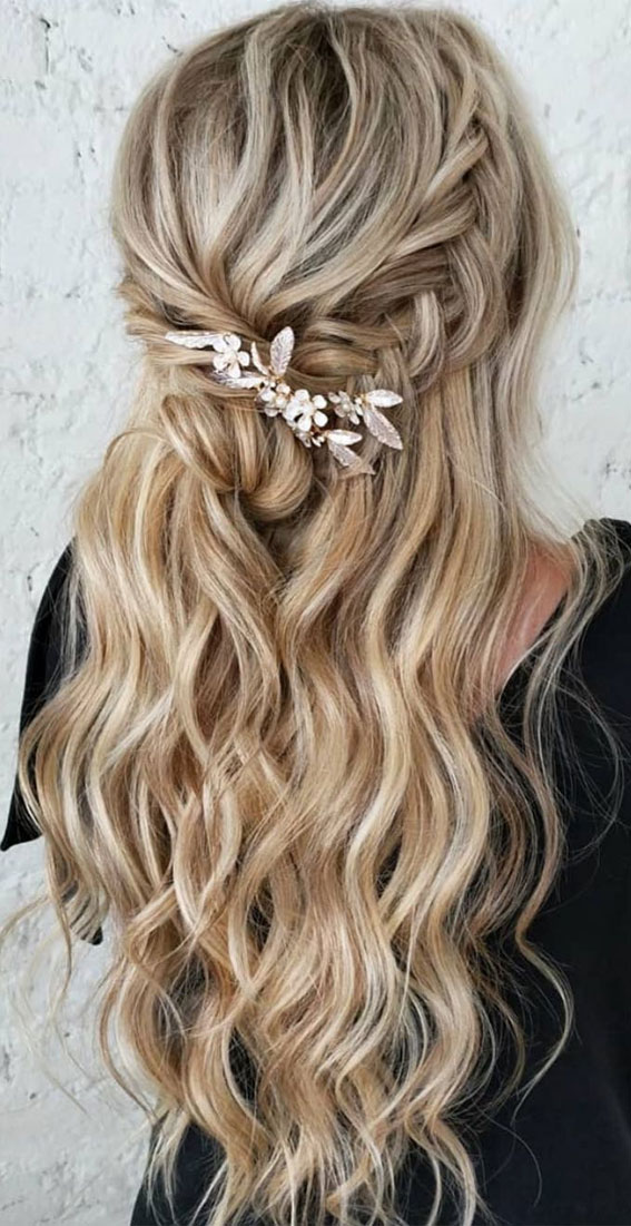 Half Up Hairstyles That Are Pretty For 2021 : Half up with cascading waves