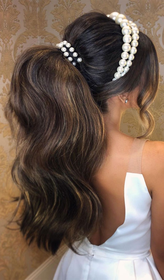 High And Low Ponytails For Any Occasion : Pearl Embellished Power Ponytail