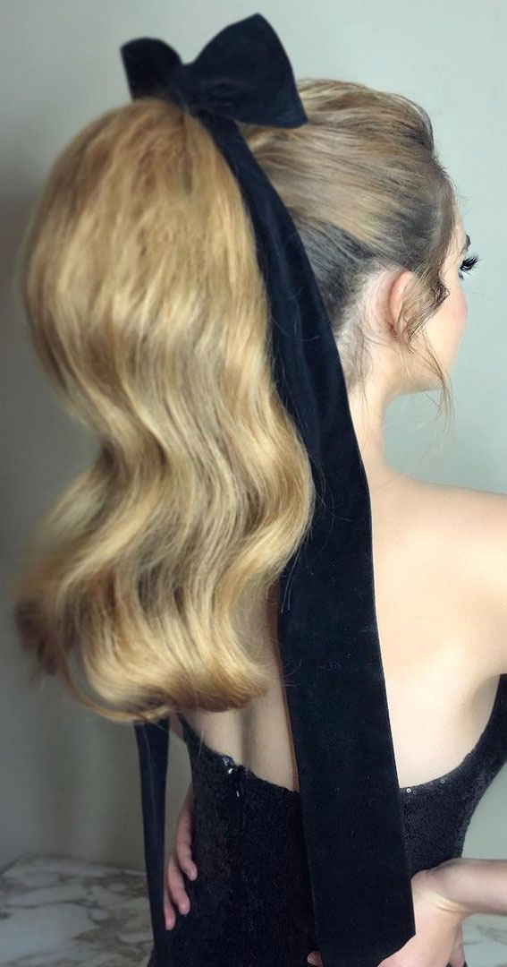 High And Low Ponytails For Any Occasion : Ponytail tied with long velvet bow