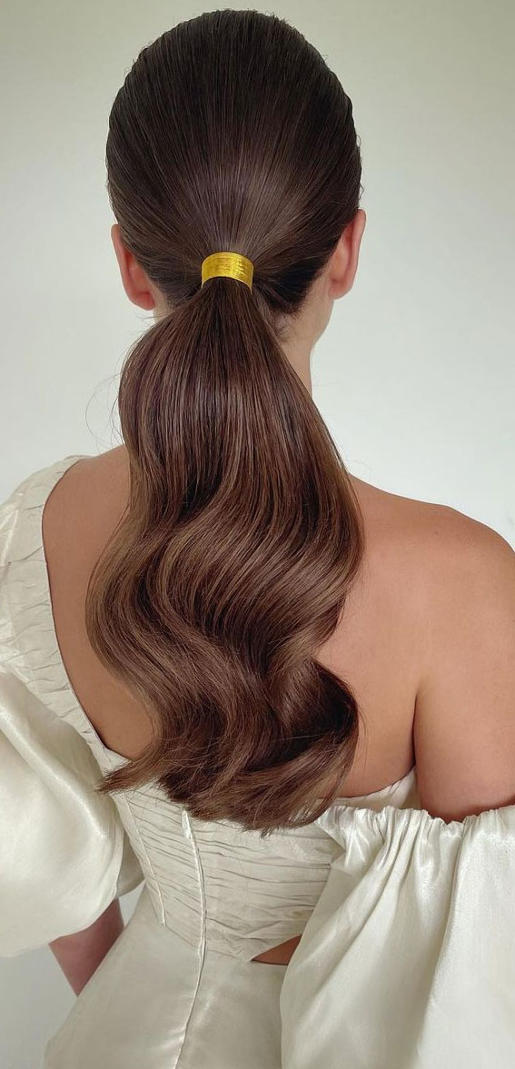High And Low Ponytails For Any Occasion : low ponytail bound in gold cord
