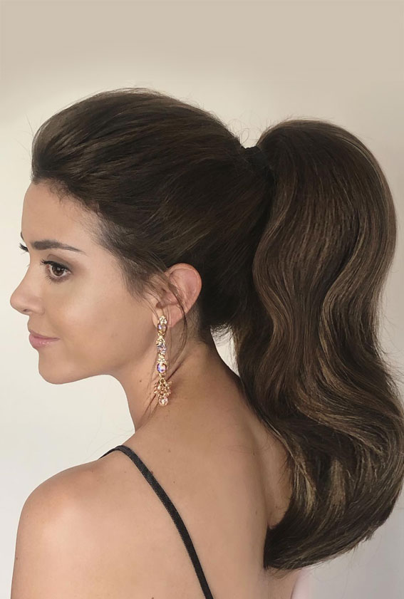 High And Low Ponytails For Any Occasion : Brunette power high ponytail