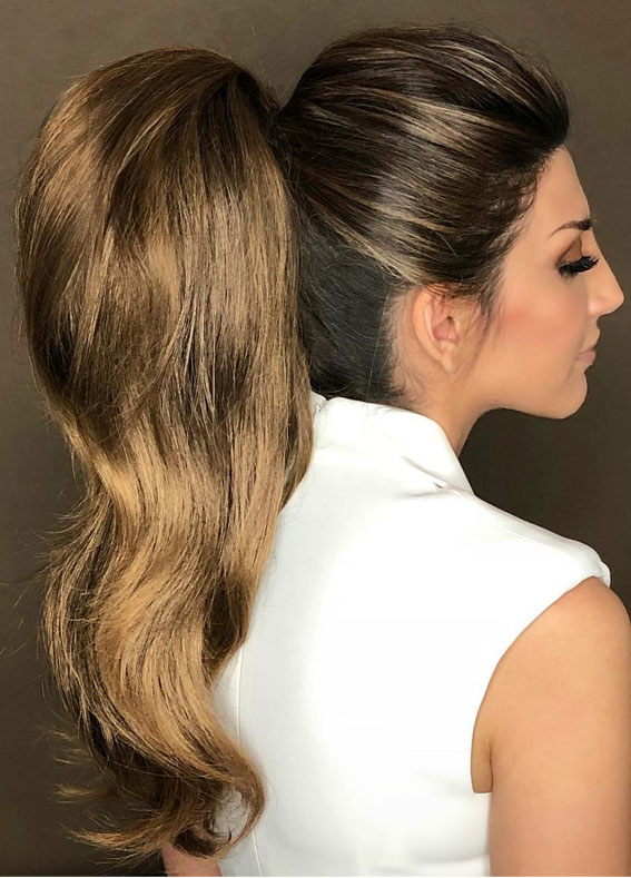 High And Low Ponytails For Any Occasion : Flirty full volume power ponytail