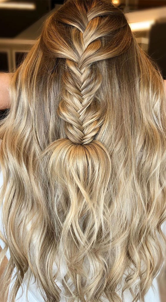 Half Up Hairstyles That Are Pretty For 2021 : fishtail braid & half up half down