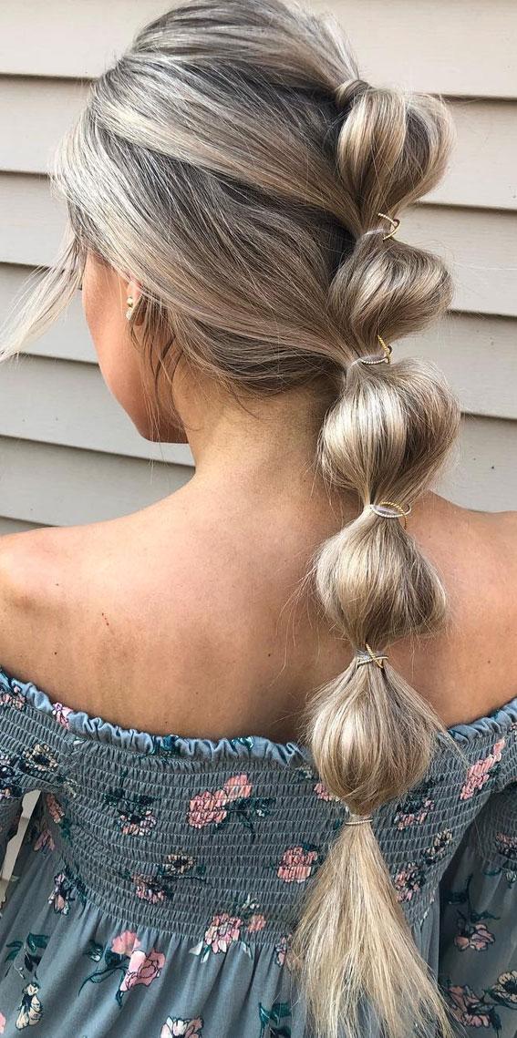 44 Beautiful Ways To Wear Braids This Season : Cute bubble braid