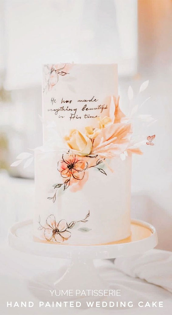 41 Best Wedding Cake Styles For Your Big Day : Hand painted loose watercolors