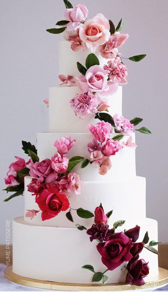 41 Best Wedding Cake Styles For Your Big Day : Wedding Cake with Varieties sugar flowers