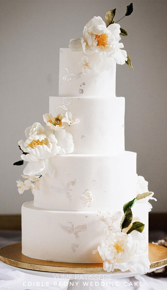 41 Best Wedding Cake Styles For Your Big Day : Wedding Cake with Edible Peony