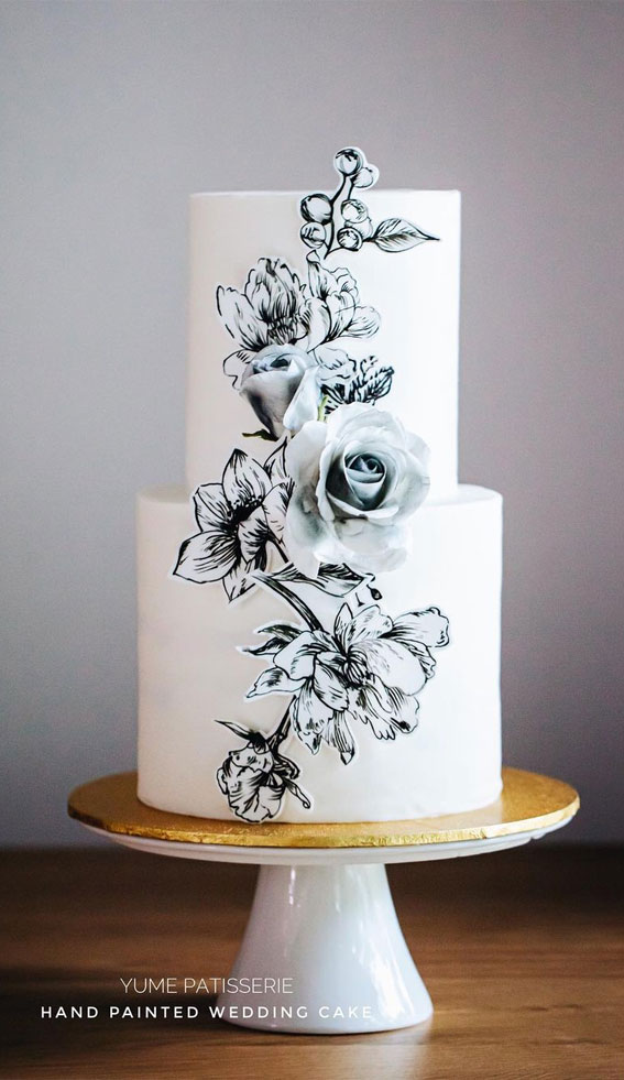 41 Best Wedding Cake Styles For Your Big Day : Black & White Hand Painted Floral