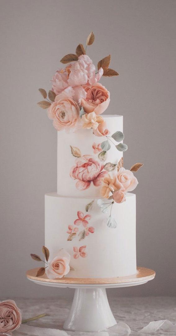handpainted wedding cake, hand painted wedding cake ideas, sugar floral wedding cake, contemporary wedding cake, elegant wedding cake, wedding cake trends 2021, wedding cake ideas #weddingcake #weddingideas #cakedecorating