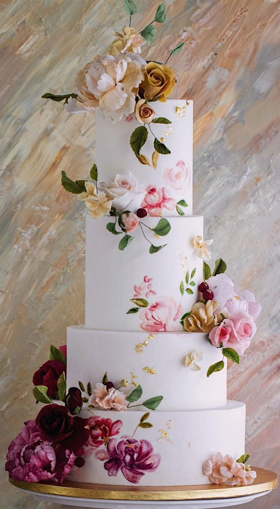 41 Best Wedding Cake Styles For Your Big Day : Four Tier Hand Painted Wedding Cake