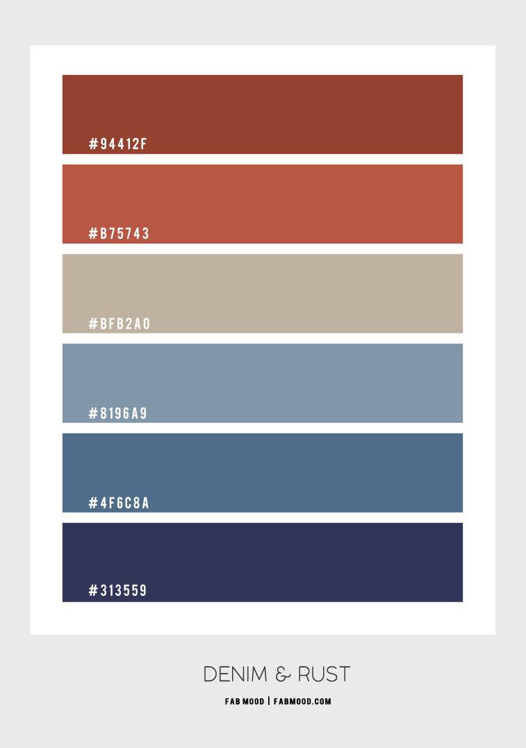 denim blue and rust color scheme, denim and terracotta color hex, indigo dark blue and rust color combination, shades of blue and rust color scheme, retro color combo