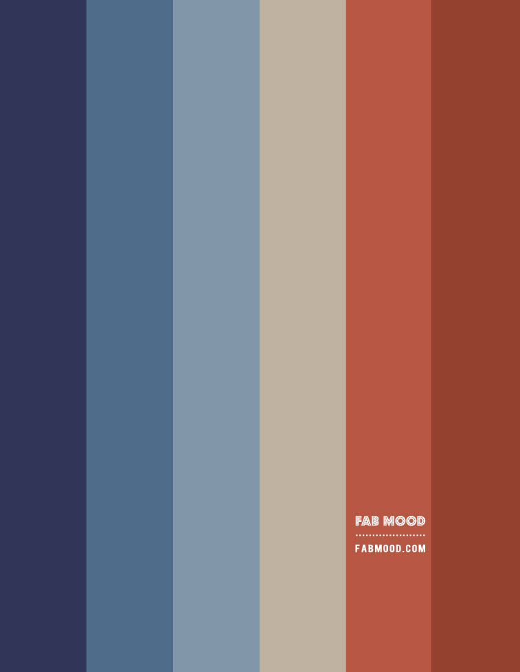 ombre blue, rust color hex, denim blue and rust color scheme, denim and terracotta color hex, indigo dark blue and rust color combination, shades of blue and rust color scheme, retro color combo