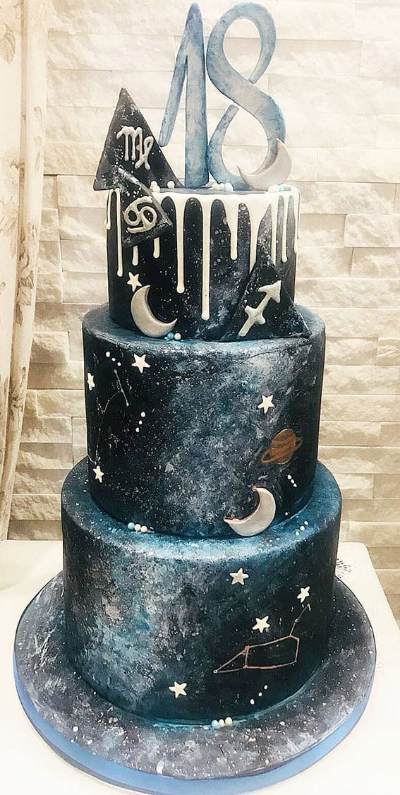18th birthday cake, space themed birthday cake, galaxy birthday cake, 18th birthday cake space