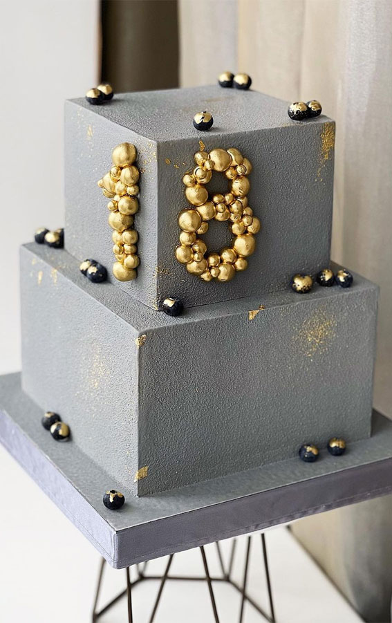 concrete cake, 18th birthday cake, grey birthday cake, 18th birthday cake inspiration