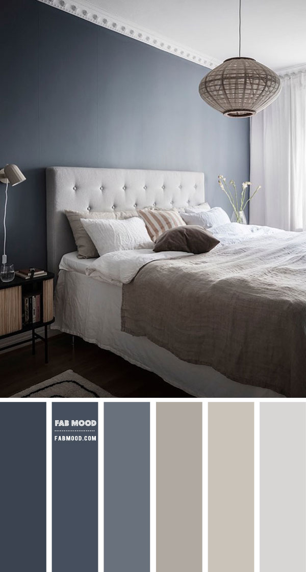 Blue Grey and Linen Colour Scheme For Bedroom
