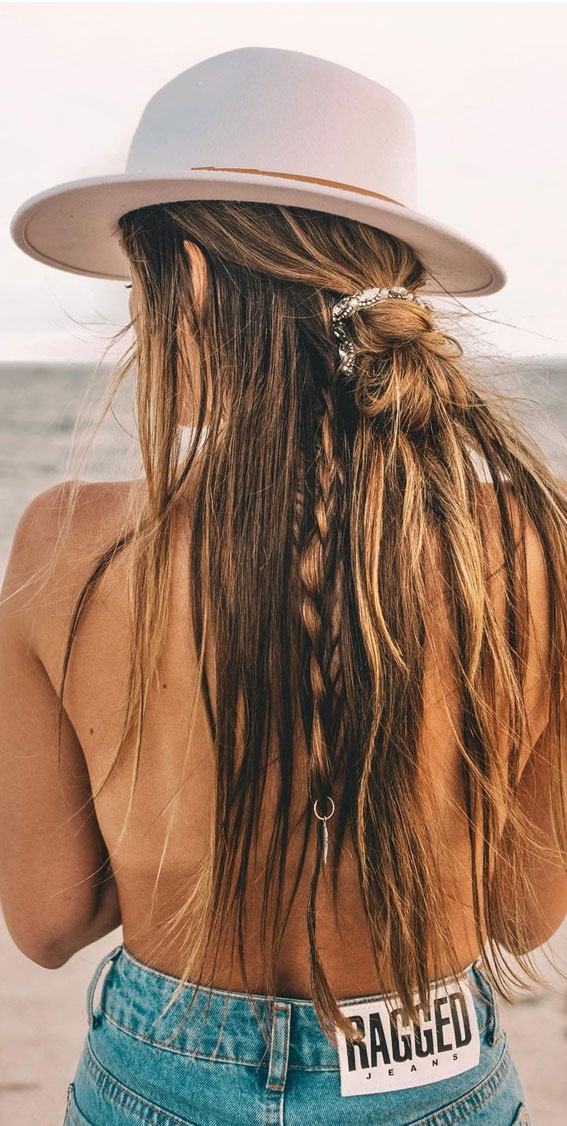 Cute braided hairstyles to rock this season : id, knot half up half down