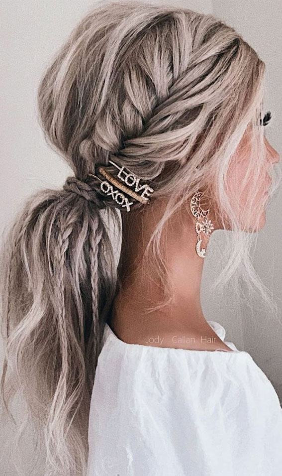 Cute braided hairstyles to rock this season : boho ponytail with different plait