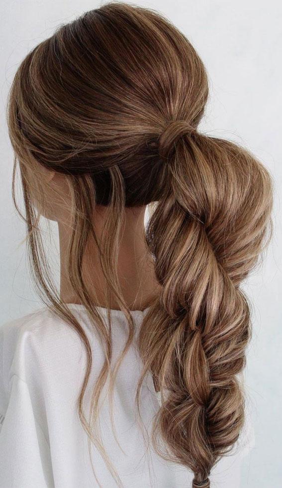 Cute braided hairstyles to rock this season : 3D fishtail braid ponytail