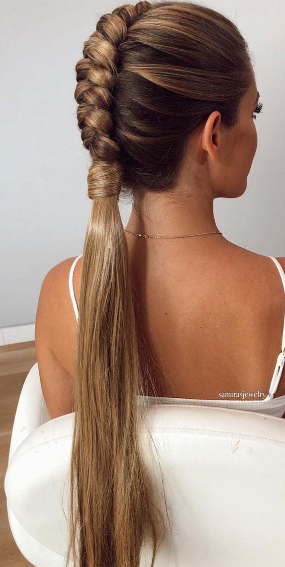 Cute braided hairstyles to rock this season : Sleek & Simple infinity ponytail