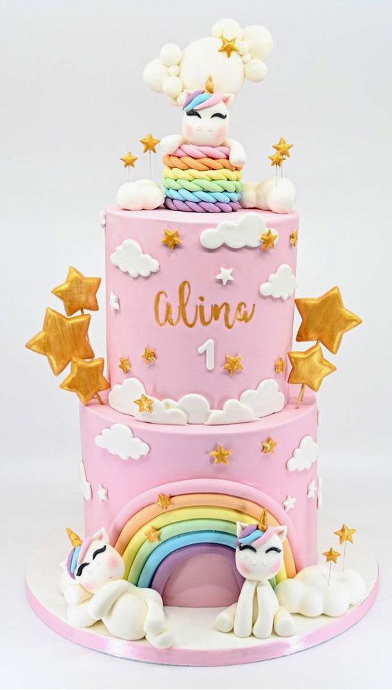 lijepa rođendanska torta jednoroga i duge, dizajni za ukrašavanje torti, ideje za ukrašavanje torti, ideje za rođendanske torte, slavljeničke torte, torte za 1. rođendan, ideje za rođendanske torte, jedinstvene rođendanske torte, jedinstveni dizajni za torte, ideje za ukrašavanje torti za djecu, ideje za ukrašavanje čokoladnih torti , prekrasne slike čokoladnih kolača