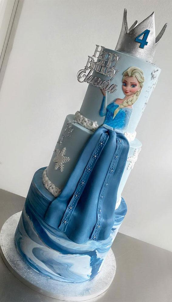 frozen birthday cake, elza birthday cake, children birthday cake, blue birthday cake, frozen birthday cake ideas