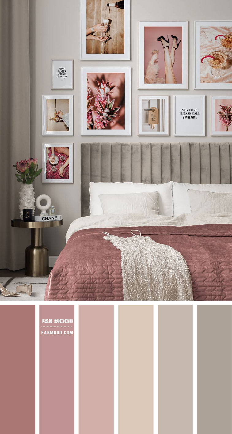 Cinnamon Rose and Metal Colour Scheme For Bedroom