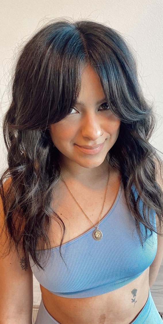 Trendy Hairstyles & Haircuts with Bangs – Long Curtain bangs for dark hair