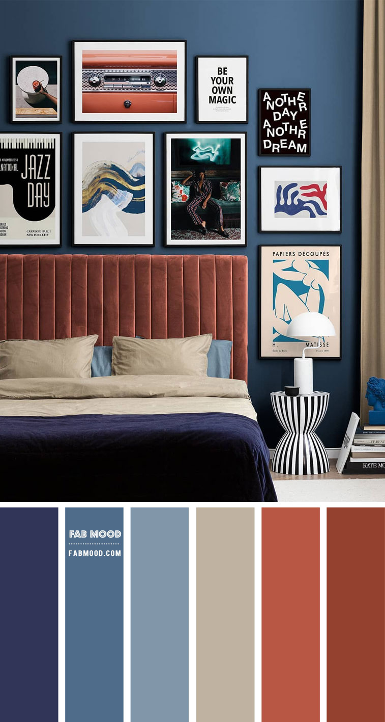 denim and rust bedroom, dark blue and terracotta colour scheme, denim and rust color scheme, denim and rust color combination