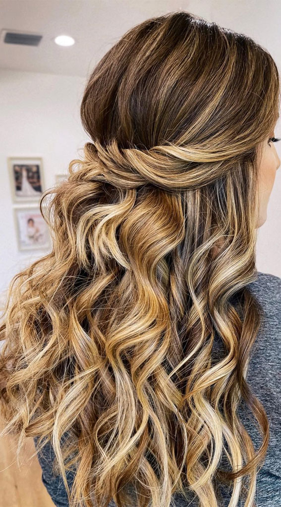 Half Up Hairstyles That Are Pretty For 2021 : half up with waves & pretty hair colour