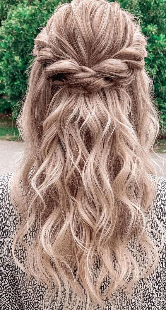 Trendy Half Up Half Down Hairstyles : Power Twisted Half up