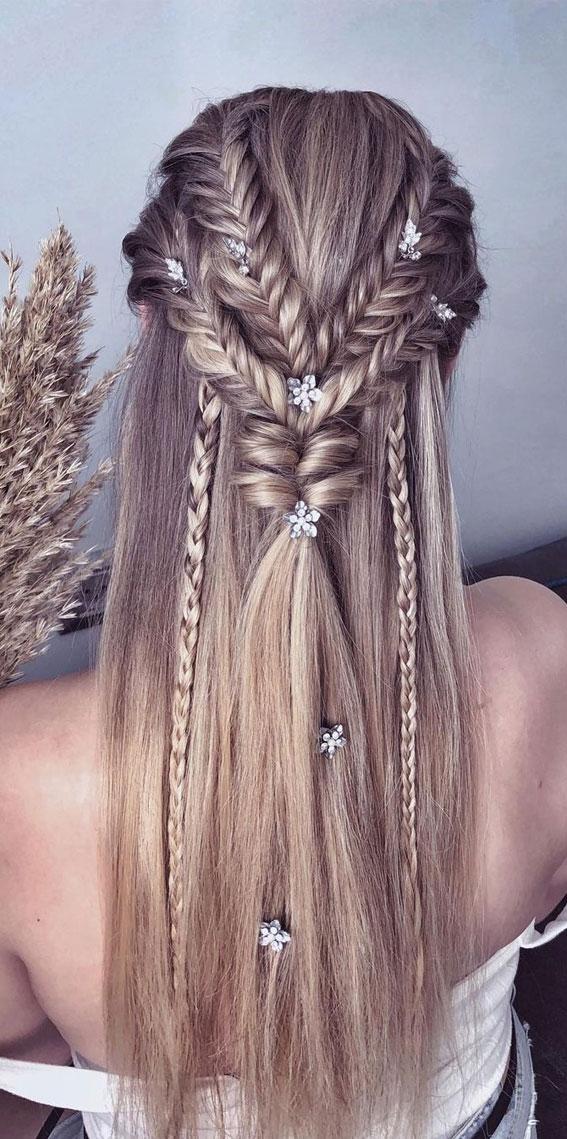 Trendy Half Up Half Down Hairstyles : Half Up & Braid Party