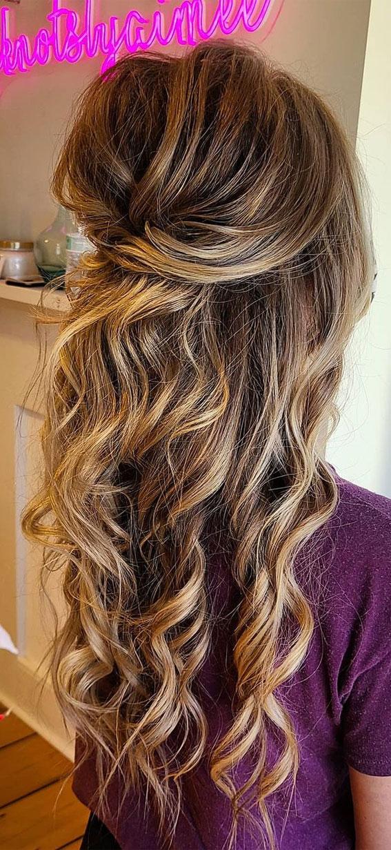 Trendy Half Up Half Down Hairstyles : Volume Half Up