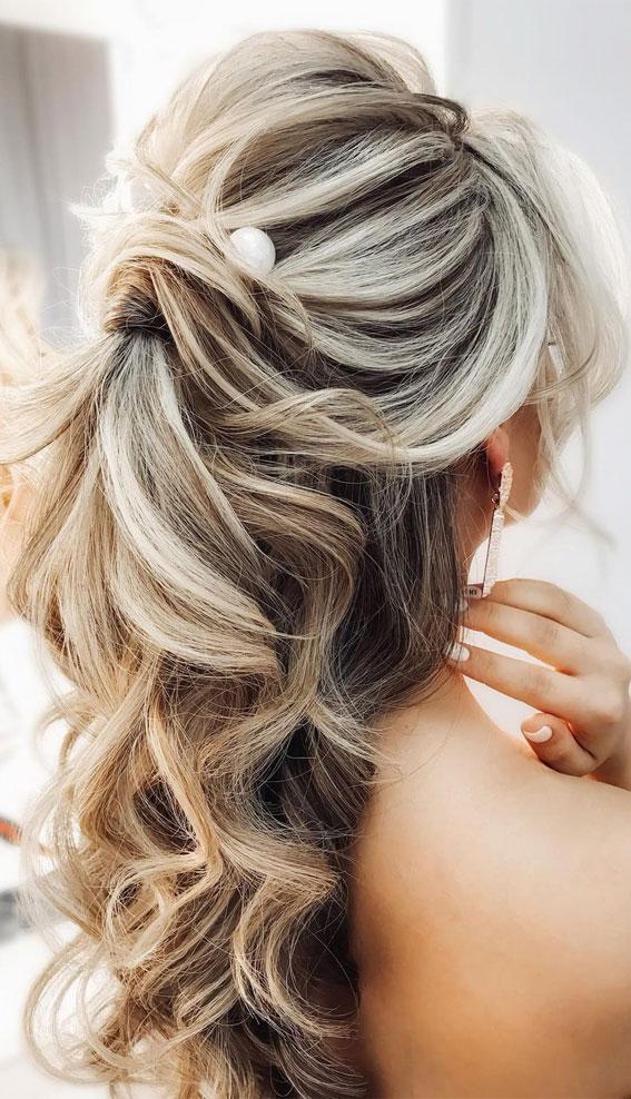 Trendy Half Up Half Down Hairstyles : Volume Ponytail Half Up