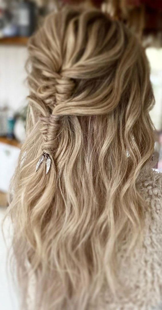 Trendy Half Up Half Down Hairstyles : Two layered Infinity Braided Half up