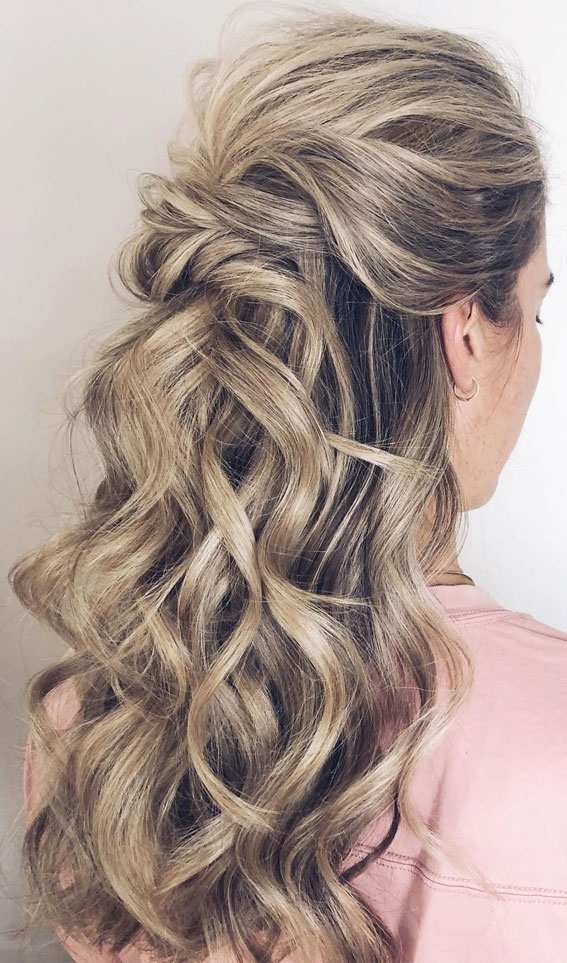 Trendy Half Up Half Down Hairstyles : half updo pulled back with soft texture