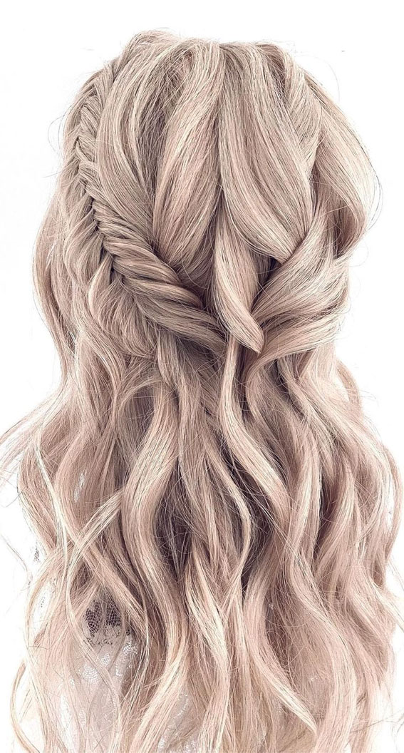 Half Up Hairstyles That Are Pretty For 2021 : half fishtail braided half up
