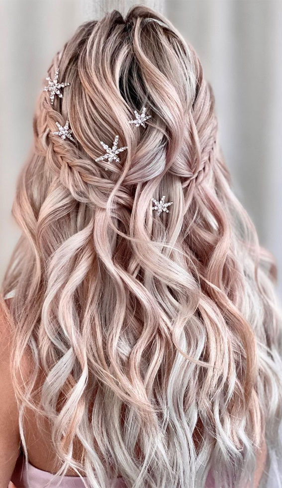 Trendy Half Up Half Down Hairstyles : Two different Braided Half Up