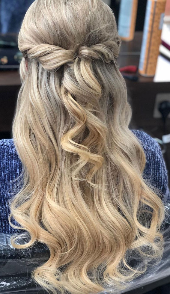 Trendy Half Up Half Down Hairstyles : Twisted Half Updo with Waves