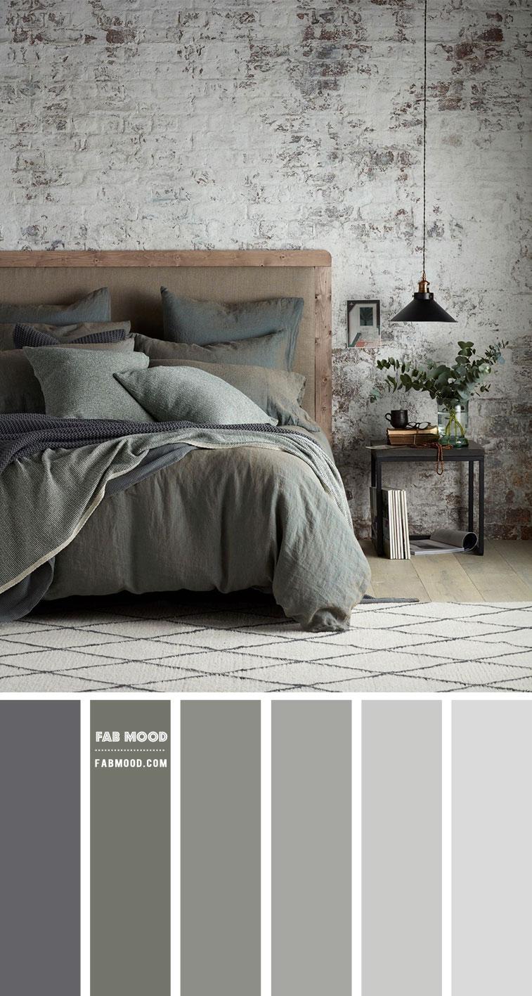 muted green bedroom, grey bedroom, industrial bedroom, rustic wall bedroom