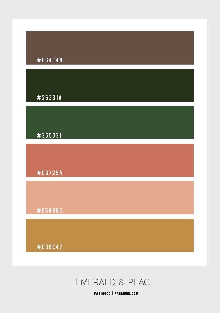 color hex, emerald green and peach colour, emerald and peach color scheme, emerald green and peach color hex, emerald green and rose gold, emerald green and gold, emerald green peach and gold, emerald green colour combination, forest green and peach color combo, green and peach color hex #colorhex