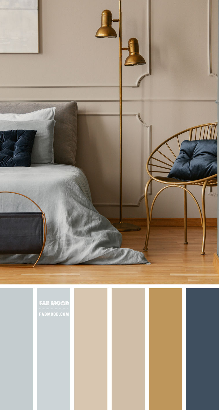 Beige and Blue Colour Scheme For Bedroom