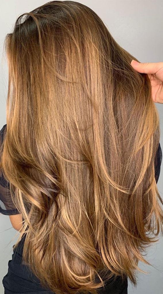 63 Charming hair colour ideas & hairstyles : Dark golden blonde on brown hair